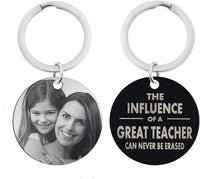 Queenberry Personalized Photo Text Circle Round Dog Tag Pendant Keychain Keepsafe for Great Teachers