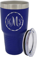 Custom Monogrammed Travel To Go Coffee Tumbler - Personalized Stainless Steel Insulated Cup Gift for Her, Women, Wife, Mom, Teacher (30 oz, Teal Blue)