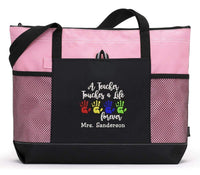 A Teacher Touches a Life Forever Personalized Tote Bag with Mesh Pockets