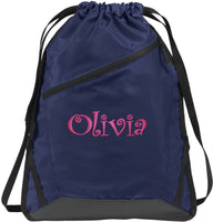 Personalized Monogrammed Shoulder Backpack with Custom Text | Cinch Bag with Customizable Embroidered Monogram Design (Tropic Blue/Black)