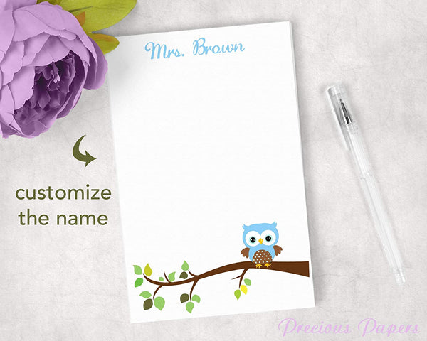 Personalized Blue Owl Notepad Teacher Gift for Owl Classroom