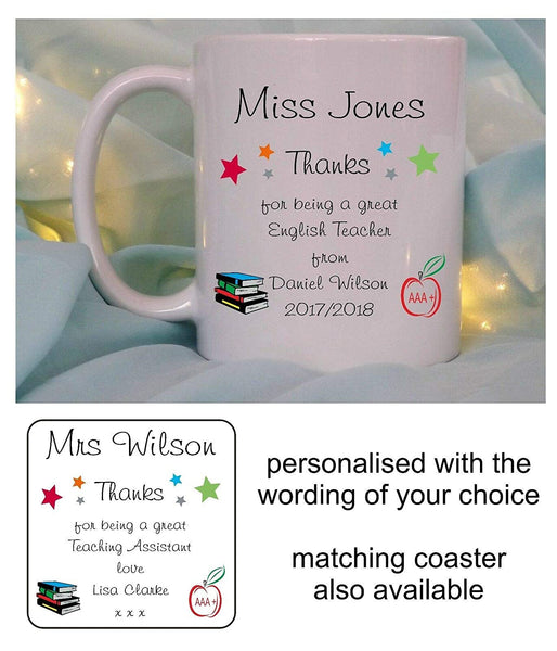 Personalised Teacher Mug Cup Coaster End Of Term School Thank You Christmas Gift