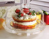 "Circleware 10041 Acrylic Multi-Functional Glass Cake Stand Plate with Dome Home & Kitchen Entertainment Serveware for Fruit, Ice Cream, Dessert, Salad, Cheese, Candy, Food Serving Platter, 12"", Clear"