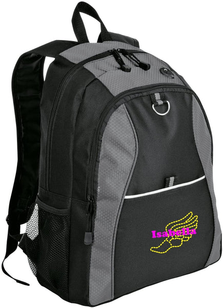Personalized Track & Field Book Bag with Custom Text | Honeycomb Backpack with Customizable Embroidered Monogram Design (Twilight Blue/Black)
