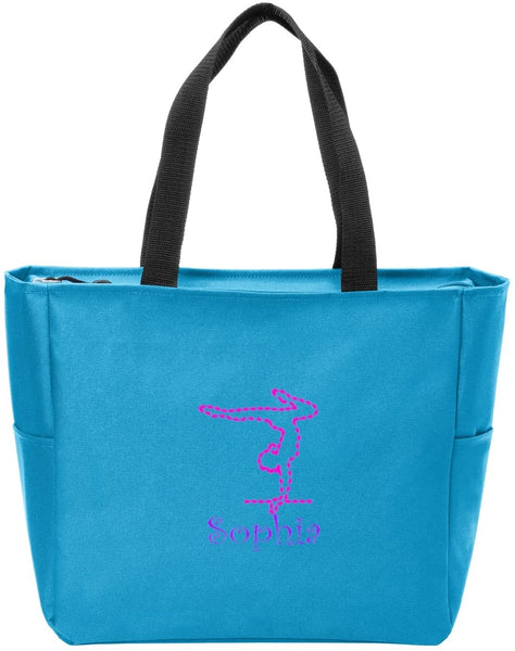 Personalized Canvas Tote Bag With Gymnastics Logo | Shoulder Bag with Customizable Embroidered Monogram Design (Turquoise)
