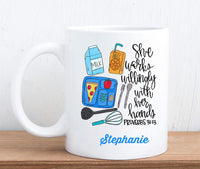 Personalized Cafeteria Worker Coffee Mug Custom Lunchroom Lady Gift Idea 11 oz Scripture Quote
