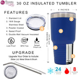Personalized Vine Monogram Powder Coated Stainless Steel Insulated Travel Tumbler - Custom Monogrammed Gift for Wife, Her, Women, Mom, Teacher (30 oz, Teal Blue)