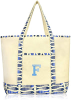 DALIX Initial Tote Bag Personalized Monogram Navy Blue Zippered Top Letter - F