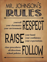 Classroom Rules Personalized Art Print. Customizable Poster For High School, Middle School or Elementary School Teachers
