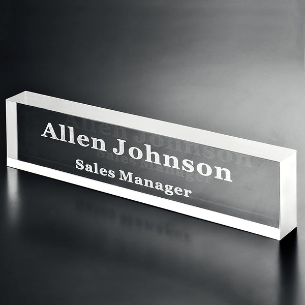 Acrylic Name Plate Office Desk Bar 3/4-Inch Custom Personalized Engraved