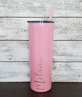 Personalized Tumbler - Laser Engraved - 20 oz Stainless Steel Skinny Tumbler - Includes Straw and Lid - Vacuum Insulated - Personalized Gift for Bride, Bridal Party, Birthday, Mother's Day, Teacher