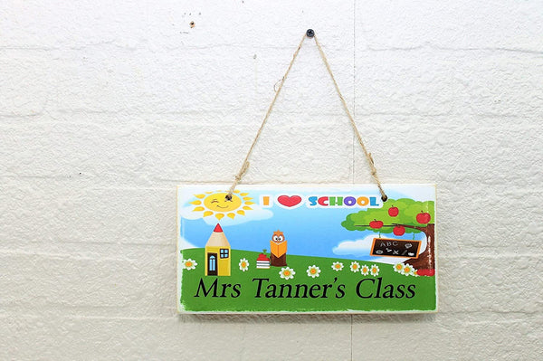 Personalized Your Name I Heart School Teachers Classroom Printed Wood Sign