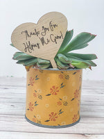 Thank You For Helping Me Grow Teacher Appreciation Wood Engraved Plant Tag