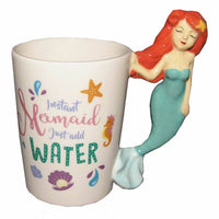3D Cute Mermaid Ceramic Mug Cartoon Princess Coffee Mugs Travel Cup Fishtail Drinking Cups Teacher Kids Gifts for Girlfriends