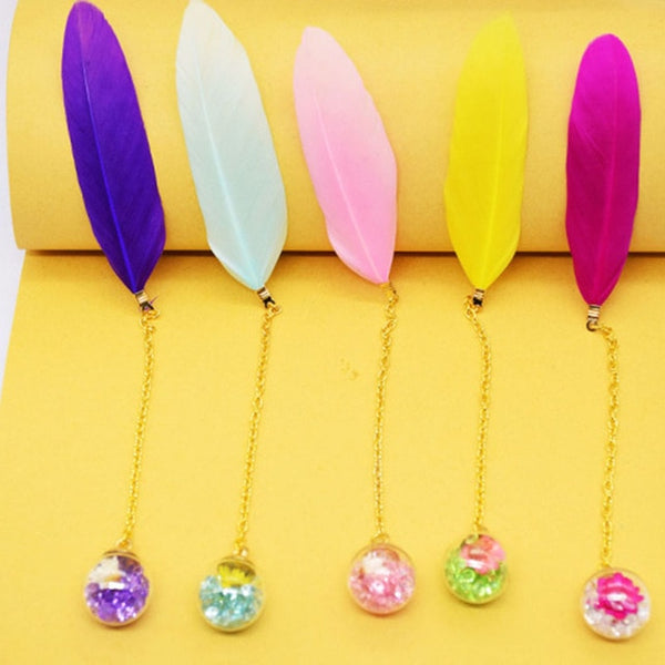 1 Pcs Boxed Colorful Feather Glass Ball Bookmark Retro Cute Book Markers Kawaii Stationery School Office Supplies Teacher Gift