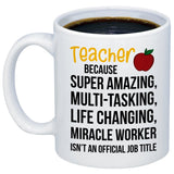 Teacher Gifts Amazing Teacher Miracle Worker Job Title Coffee Mug Funny Unique Gift