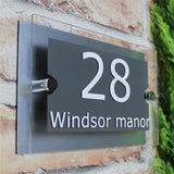 Customized Transparent Acrylic House Number Plaques Sign Plates House Signs with Vinyl Films and Aluminum Plastic Backing Panels