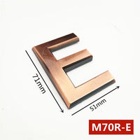 Height 70mm 0123456789A-Z  Bronze Color Plastic Plaque Number House Hotel Door Address Digits Sticker Plate Sign ABS plastic