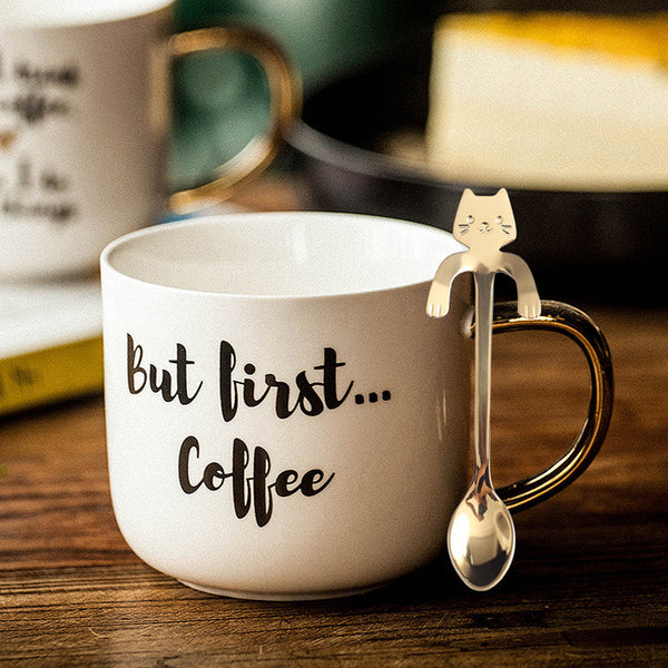 Mugg Cup Production Stand White Personalised Coffee Mug Metal Stainless Spoon Coffee Milk  Gifts for Teacher Mug 2019 New GG50mk