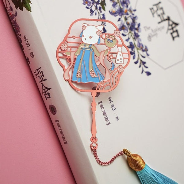 Metal Bookmark Kawaii Hanfu Animal Cat Cute Segnalibro Bookmarks for Books Kawaii Creative Teacher Gifts Brass Metal Book Marks