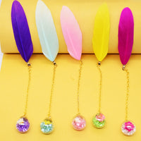 1Pcs Boxed Colorful Feather Glass Ball Bookmark Retro Cute Book Markers Kawaii Stationery School Office Supplies Teacher Gift