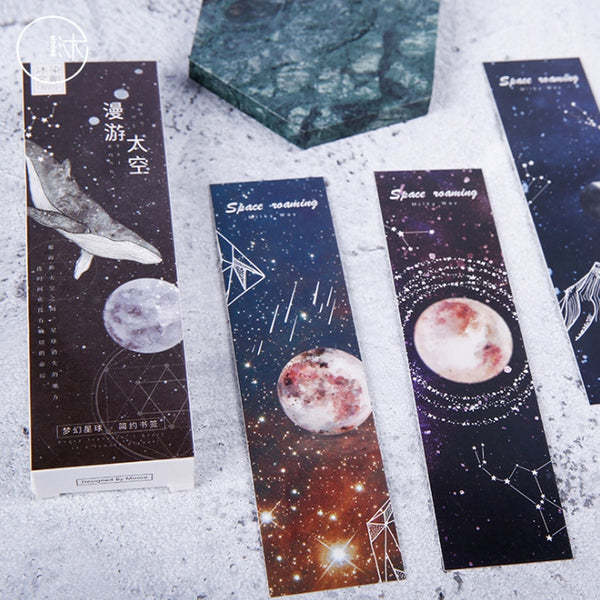 30pcs/pack Roaming Space Bookmark For Books Stationary Novel Office School Supplies Gift To Teacher Paper Bookmarks