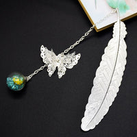 Clip Metal Bookmark Student Vintage Elegant Feather Butterfly Gift Box Stationery Retro Pendant Decoration Teachers Film Reading