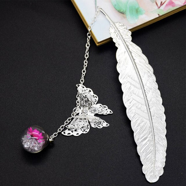 Metal Bookmark Feather Butterfly Teachers Reading Gift Box Vintage Anti Rust Retro Pendant Elegant Stationery Decoration Clip