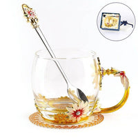 Enamels Daisy Clear Glass Coffee Mugs Tea Cup with Steel Spoon And Gift Box Personalised Gifts For Women Wife Mum Teacher Friend