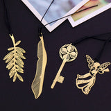 4Pcs/lot Retro Metal Mini Bookmark Angel Feather Key Maple Book Mark Creative Teacher Gift Artistic Stationery School Supplies