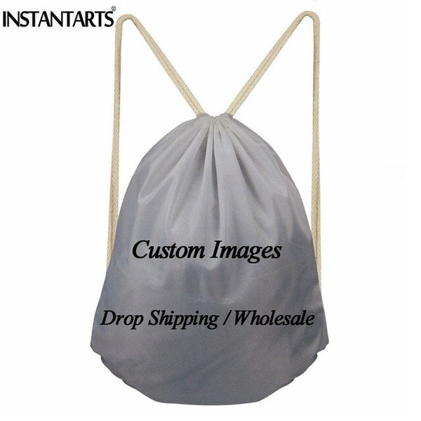INSTANTARTS Stylish Polyester Drawstring Bag Spanish Teacher Printing Casual String Backpack Girl Boy Cinch Sack Kids School Bag