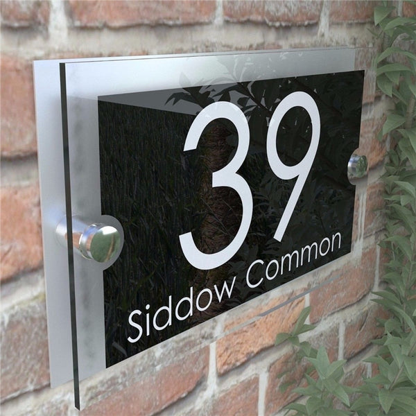 Contemporary 200x140mm House Number Sign Plaques Door Numbers 1 - 999 Personalised Name Plate