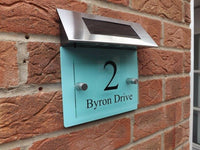 Customize MODERN HOUSE SIGN PLAQUE DOOR NUMBER STREET GLASS PASTEL EFFECT SOLAR LIGHT