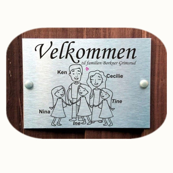 (Velkommen)Norwegian Door Plaques Personalised Stick Family House Name Sign for 5 People Aluminium-polyethilene Composite Panel