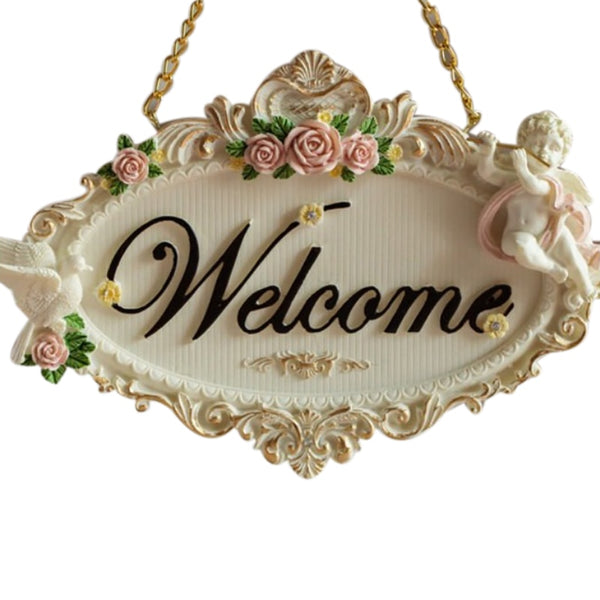 Quality Welcome And Rose Flowers Resin Door Decoration Bathroom Door Listing Door Plate House custom sign door Listing for hotel