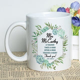 Mayrey Custom Gift Personalized Printing Ceramic Coffee Mug 11oz Beautiful Design Mug Teacher Appreciation Gift for Teacher