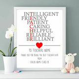 Teacher Thank You Gift Present - Personalised Picture - Best Teacher | (NP233)