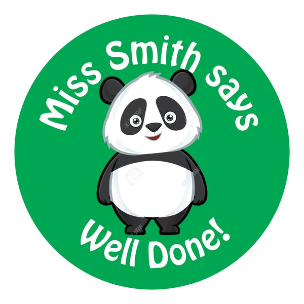 80 Personalised Teacher Reward Stickers for Pupils Green Panda gift