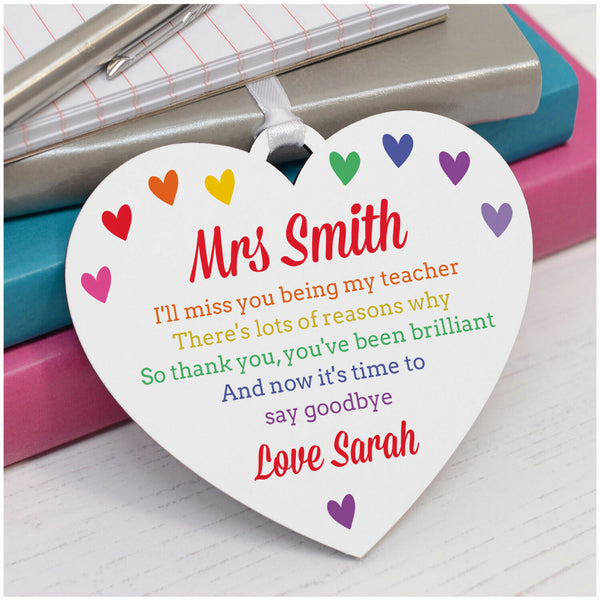 Rainbow Teacher Gifts PERSONALISED Teacher Thank You Appreciation Plaque Gifts