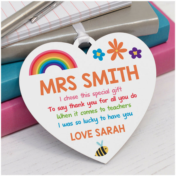 Rainbow Teacher Thank You Plaque Gifts PERSONALISED Teacher Rainbow Heart Gifts