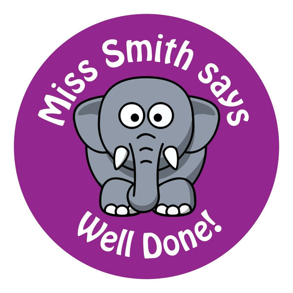80 Personalised Teacher Reward Stickers for Pupils Purple Elephant teacher gift
