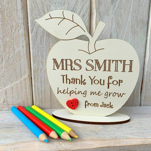 Personalised Teacher Gift Thank you Special Teacher Gift Apple on Stand White