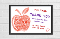 Teacher Gifts THANK YOU Personalised APPLE Best Teacher Leaving Present