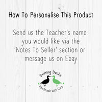 Personalised Best Teacher Unisub Plastic Keyring Teacher End Term Gift Present