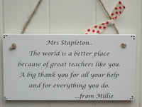 Personalised Handmade Wooden Sign - Thank You Teacher Gift Plaque Mentor