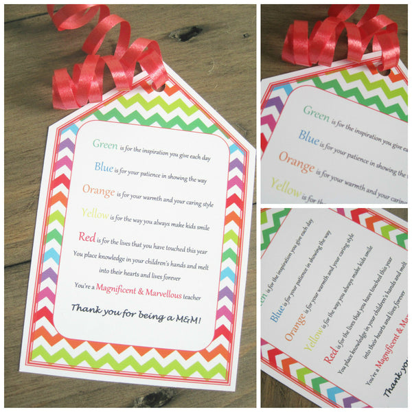 1 x Teacher's personalised gift tag, M&M Teacher appreciation poem gift tag
