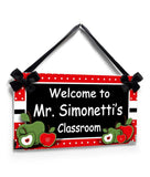 Personalised Teacher Gifts Red and Green Apples in Red Polka Dot Door Sign Class