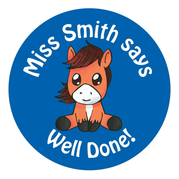 80 Personalised Teacher Reward Stickers for Pupils Blue Horse teacher gift.