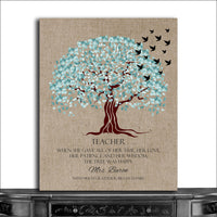 (CWA-1125) Personalized Teacher Appreciation Gift The Tree Was Happy Faux Tex...