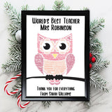 Personalised Teacher Gifts Head Christmas Helper Assistant Best Frame Card Stars